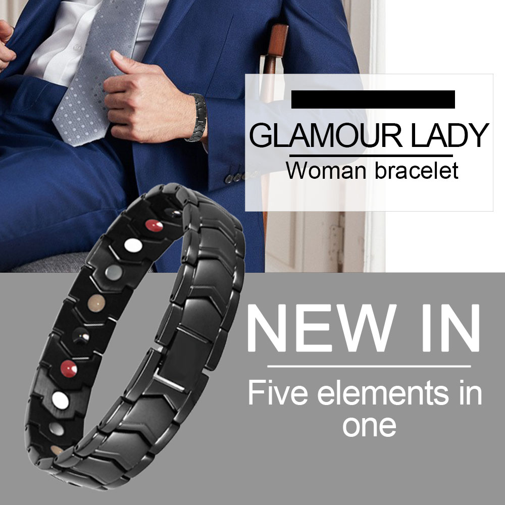 браслет мужской Men's Bracelet Black Bracelet Magnetic Bracelet Relieves Hand Pain,Promotes Blood Circulation, Improves Insomnia
