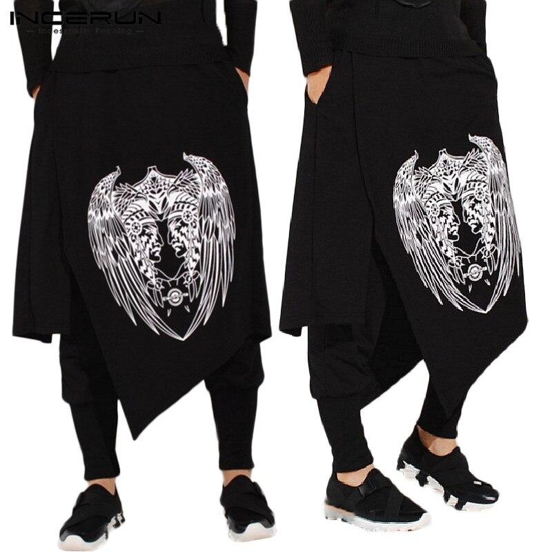 INCERUN 2020 Men Harem Pants Print Retro Drop Crotch Joggers Trousers Male Punk Baggy Loose Nepal Style Double Layer Pants 5XL