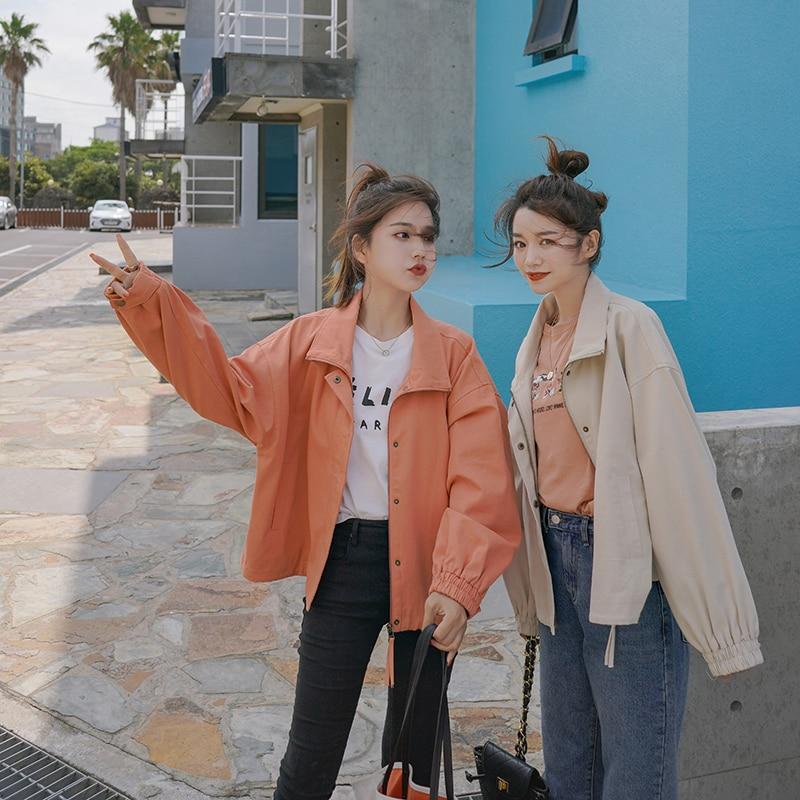 Chic Preppy Style Cool Women's   Jackets     Basic     Jacket   Fashion Girl Windbreaker Outwear Female Baseball Women Coat