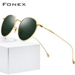 FONEX из чистого титана солнцезащитные очки мужские винтажные маленькие круглые поляризационные солнцезащитные очки для женщин 2019 Ретро Выс...