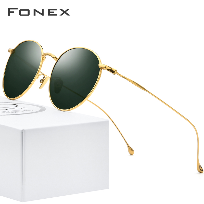 FONEX Pure Titanium Sunglasses Men Vintage Small Round Polarized Sun Glasses For Women 2019 Retro High Quality UV400 Shades 8508