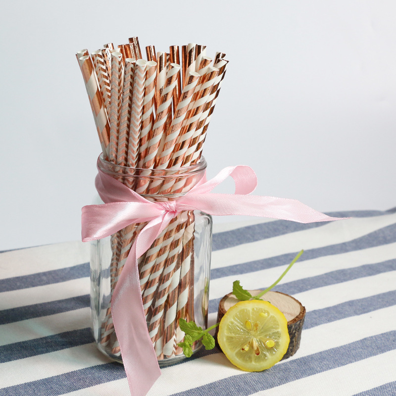 Disposable Environmentally Friendly Paper Straw Cocktail Straw Bronze Color Wave Pattern Polka Dot Tiao Wen Zhi Straw 25 Root