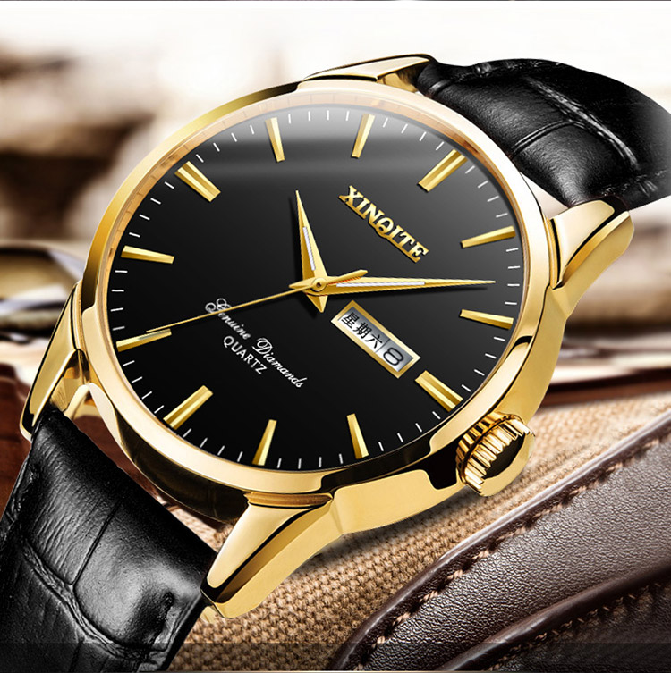 Ha9e38febc349495fa42143c99dda65edU XINQITE Official Men Watches 2019 brand luxury Quartz Watches Fashion Genuine Leather Waterproof Watch for gentleman Students