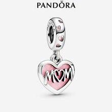 Fête des Mères Pandora 925 En Argent Sterling Perle Mère Script Coeur Dangle Charme Pour Bracelets À FAIRE SOI-MÊME Les Femmes D'origine Fabrication De Bijoux Cadeau