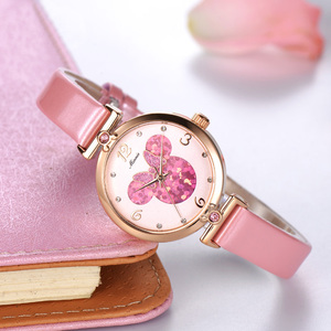 Image 2 - Women Lovely Pretty Smart Minnie Cuties Watch Girl Beautiful Pink Leather Strap Quartz Clock Gift Luxury Crystal Youth Lady Time