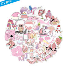 Stickers Desk-Cover Skateboard Computer Laptop Cartoon Pink Waterproof for Phone-Suitcase