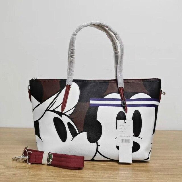 Designer de marca crocodilo mickey impressão dos desenhos animados moda feminina tote ombro bolsa de mão grande casual viagem compras escola bolsa 5
