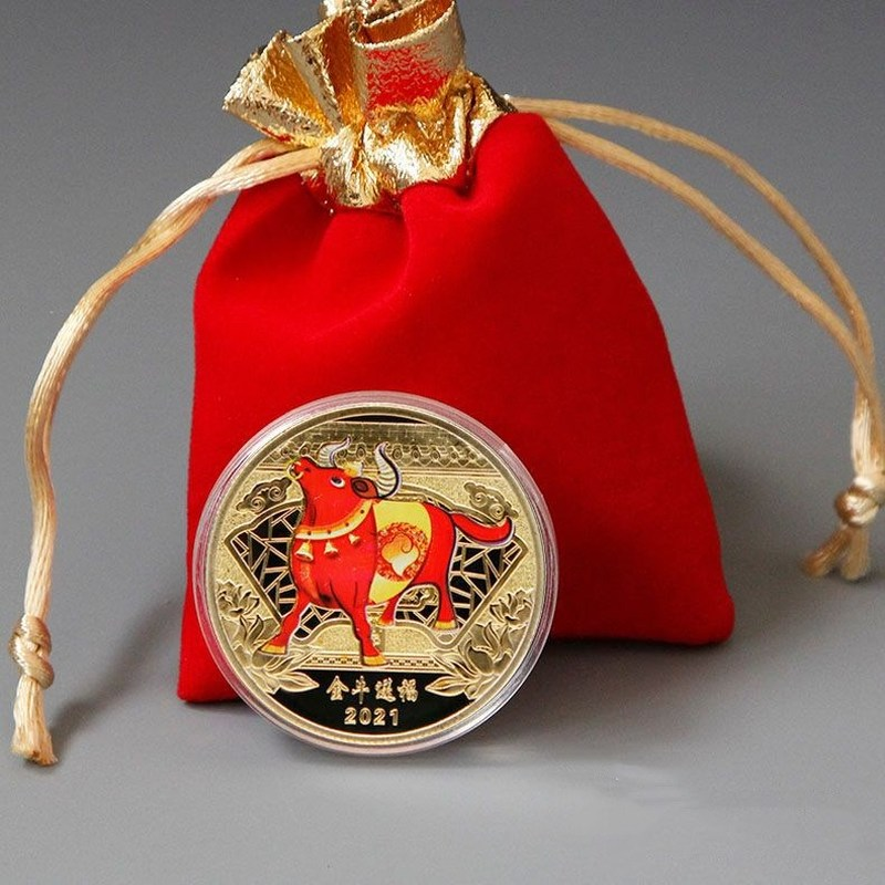2021 год быка памятная монета Lucky China сувенир Коллекционная монета Двенадцать Знак зодиака бык не монеты иностранных валют