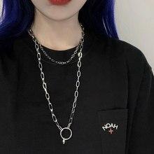 Nova moda prata cor colar de aço inoxidável corrente colar para mulher jóias boêmio pescoço jóias punk hip hop