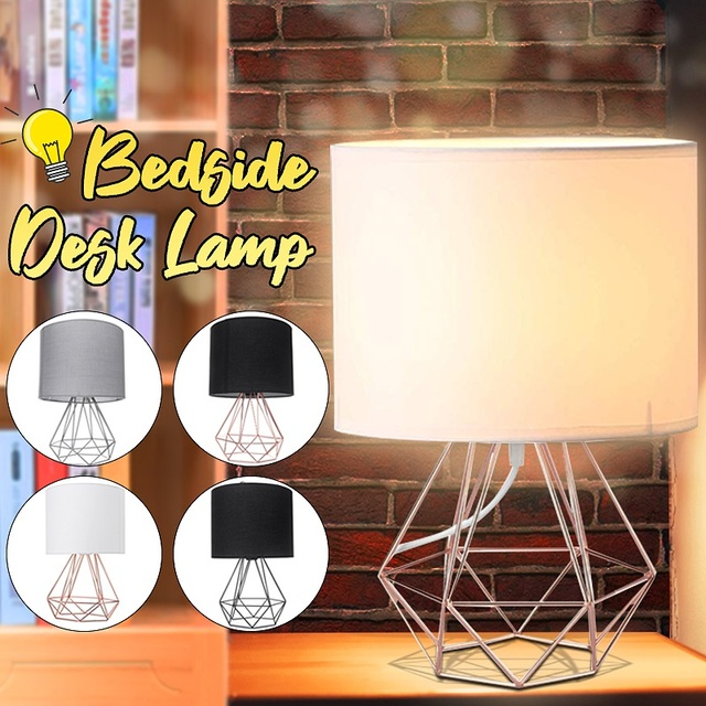 E27 Geometric Table Lamps Decorative Retro Drum Shade Light Bedside Home Lighting for Bedroom Living Room Office Lamp