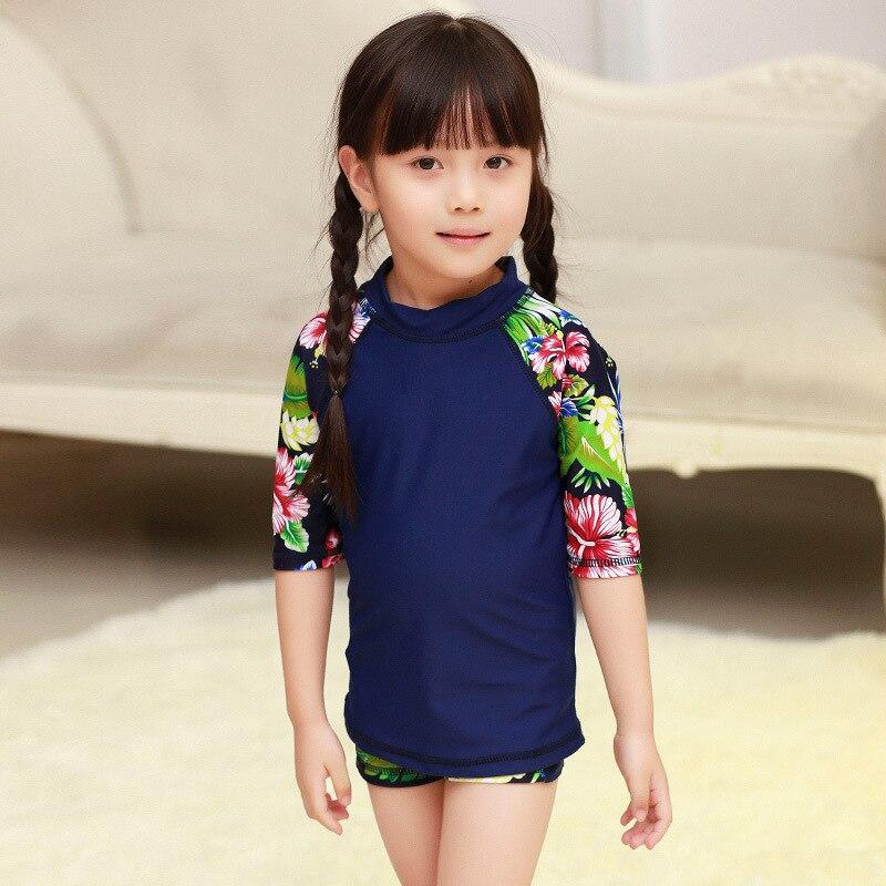 South Korea New Style KID'S Swimwear Baby Girls Cute Princess Sun-resistant Tour Bathing Suit Girls Split Type Half Sleeve Quick