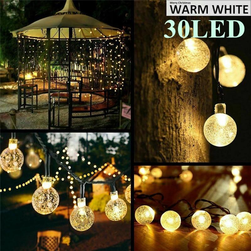 Holiday Lighting Outdoor Solar Powered 6.5M 30 LED Bulb String Light Garden Holiday Christmas Wedding lamp