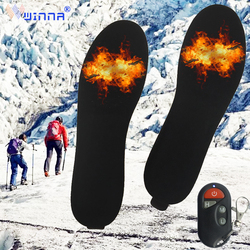 Velvet Remote Control Heated Insoles Rechargable Heating Insoles Winter Outdoor Sport Keep Warm Foot Shoes Pads for Men Women