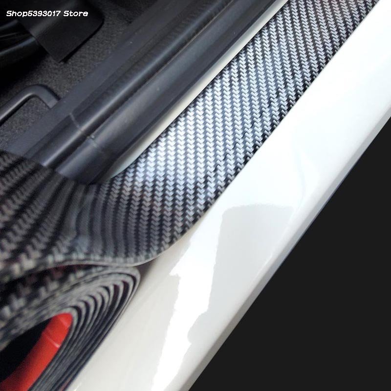 10CM*1M Car Carbon Fiber Rubber Edge Guard Strip Door Sill Protector Accessories