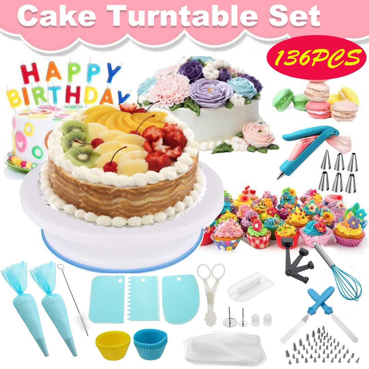 136Pcs/Set Cake Decorating Kit Pastry Tube Fondant Tool Cake Turntable Set Kitchen Cake Dessert Baking Bakeware Pastry Supplies