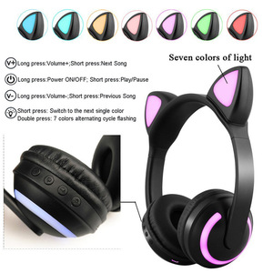 Image 2 - LED light Cat Ears Noise Cancelling Headphones Bluetooth  Kids  Headset Support TF Card 3.5mm Plug for Phones With Microphone