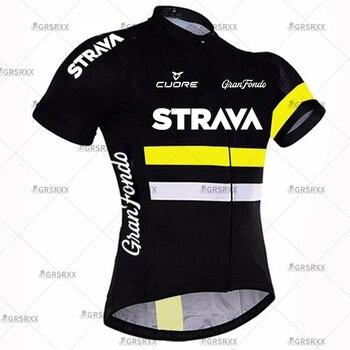 STRAVA Cycling Jersey Men Set Bib Shorts Set Summer Mountain Bike Bicycle Suit Anti-UV Bicycle Team Racing Uniform Clothes 10