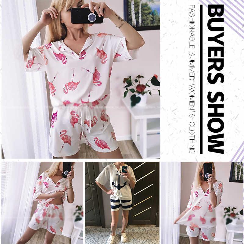 Sọc In Chữ Bộ Cho Nữ Cổ Chữ V Hai Mảnh Rời Phù Hợp Với Người Phụ Nữ 2020 Xuân Hè Mới Thời Trang Nữ Nhà mặc Áo Vải