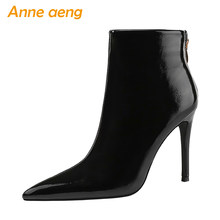 2019 New Winter Women Ankle Boots 10cm High Thin Heel Pointed Toe Solid Zipper Sexy Ladies Women Shoes Black Short Martens Boots(China)