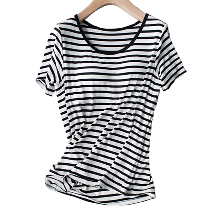 Built In Bra Sleep Shirts Women Loose fit Short Sleeve Striped Modal Sleep Wear Summer Padded Bra Breathable Lounge Lingerie