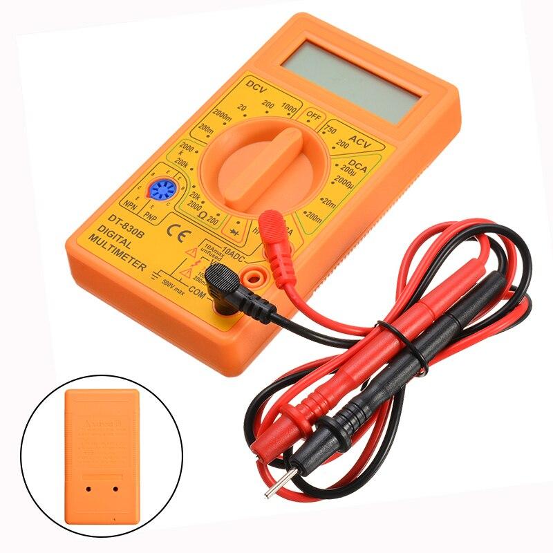1pc Portable DT-830B Multimeter Yellow Digital LCD Multimeter AC 1000V DC 750V Voltmeter Ammeters Volt AC DC Meter Tester