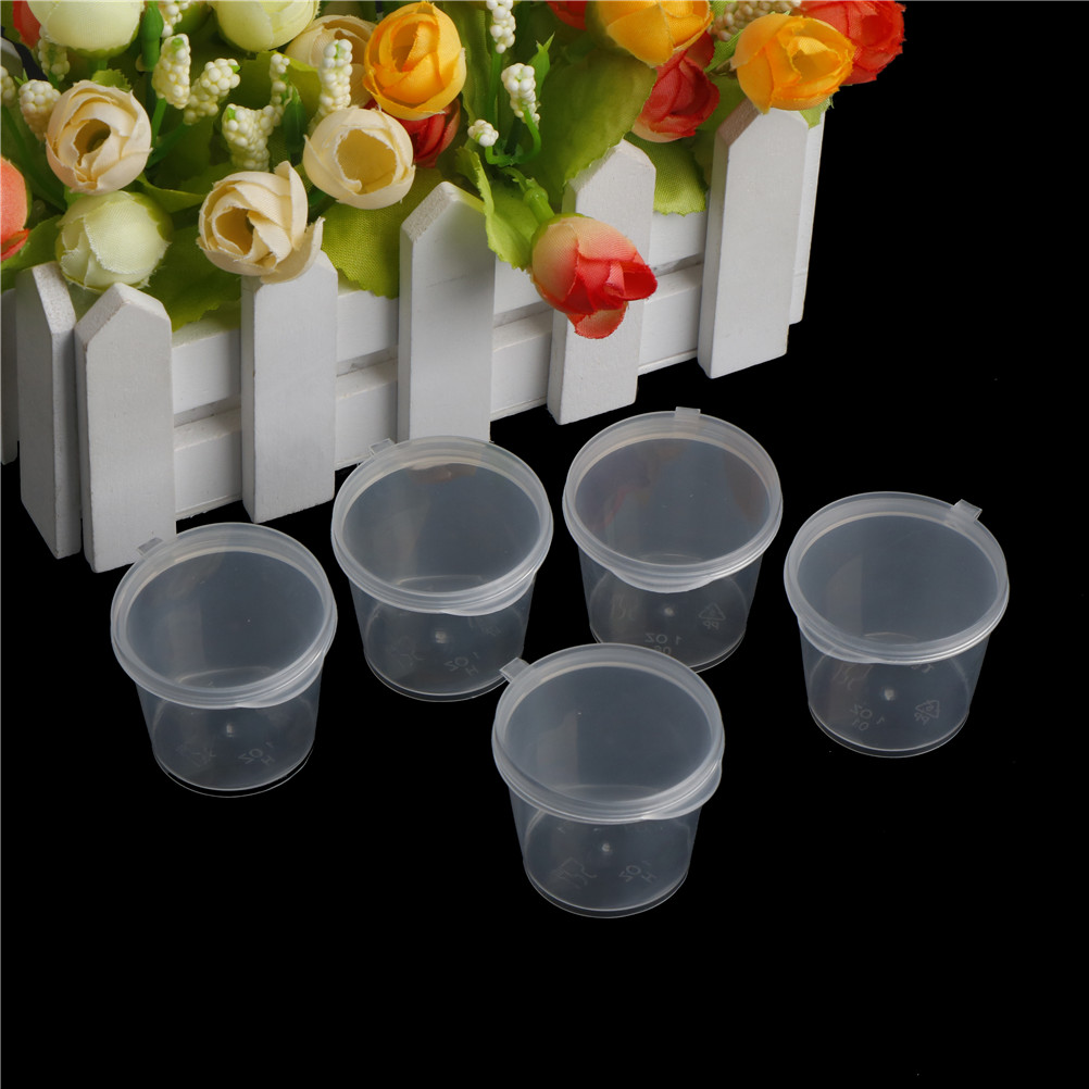 100Pcs Wholesale Clear Food Small Sauce Containers Package Box&Lid Portable Disposable Portable Plastic Cups Transparent