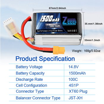 2units Zeee 4S 14.8V 1500mAh 100C Lipo Battery with XT60 Connector Softcase Lipo Battery for RC Car Truck Airplane FPV UAV Drone 3