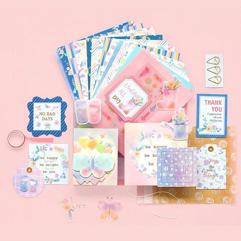 Juego de papel adhesivo para manualidades, 118 Uds., tarjetas de papel de escritura, álbumes de recortes, creación de tarjetas, diarios, papelería de decoración