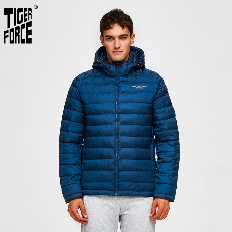 TIGER FORCE 100% Polyester Spring Autumn Men's Jacket Male Casual Coats Hooded Outerwear High Quality Men Parkas With Hoody