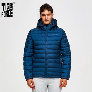 Image 2 - TIGER FORCE 100% Polyester Spring Autumn Mens Jacket Male Casual Coats Hooded Outerwear High Quality Men Parkas with Hoody