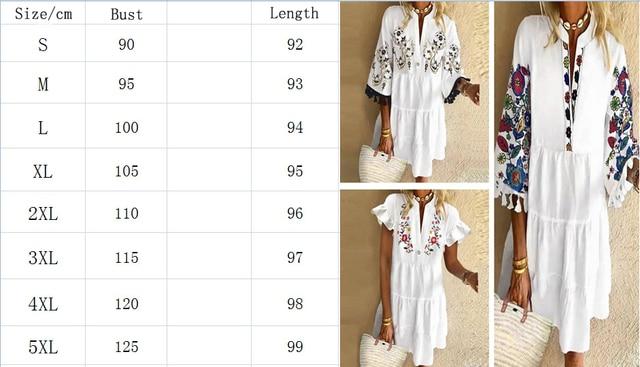 Vintage Floral Print Dress Elegant Women Tassel A-Line Dress Half Sleeve Button Mini Dress Lady Casual Loose Short Dress Vestido 5
