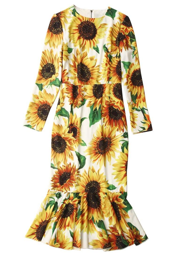 Nouveau 2019 automne hiver femmes tournesol imprimer robe de soirée nuit à manches longues volants ourlet sexy sirène robes jaune