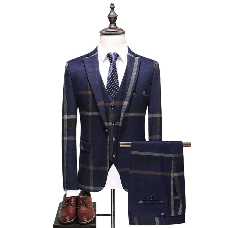 Men's Suits 2019 New Men's Fashion Slim Suit Three-piece Suit Business Casual Plaid  Large Size British Style Party Suit