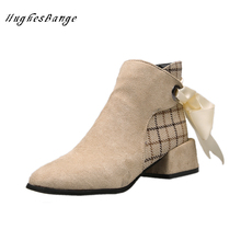 Shoes fashion shoes comfortable new autumn winter thick with short boots wild slim short boots female British wind Martin winter 2017 autumn and winter british wind thick bottom shoes lace up boots within 12cm muffin high slope with martin boots