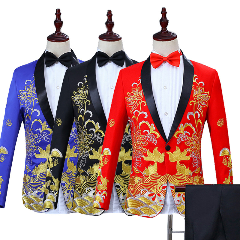 New Style Chinese Style Formal Dress Men Slim Fit Suit Stage Host Singer Costume Master Of Ceremonies Embroidered Clothing