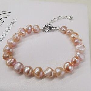 DAIMI натуральный пресноводный жемчуг браслет классический стиль белый/фиолетовый/розовый/черный браслеты для женщин