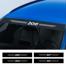 Para parabrisas delantero de coche reflectante pegatinas de calcomanías para Peugeot 307, 206, 308, 407, 207, 3008, 208, 508, 2008, 301, 408, 107, 5008