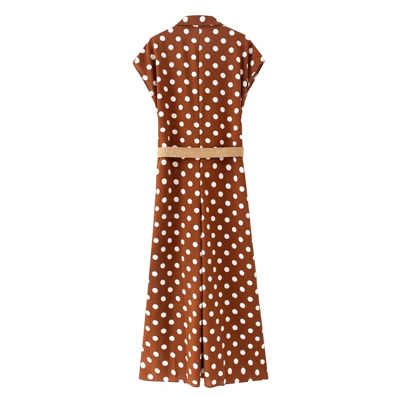 Ha9e4fbadf88646eabc05251c4136e241Z - Elegant women polka dots looses jumpsuits with belt summer fashion ladies vintage boho rompers female chic jumpsuit girls