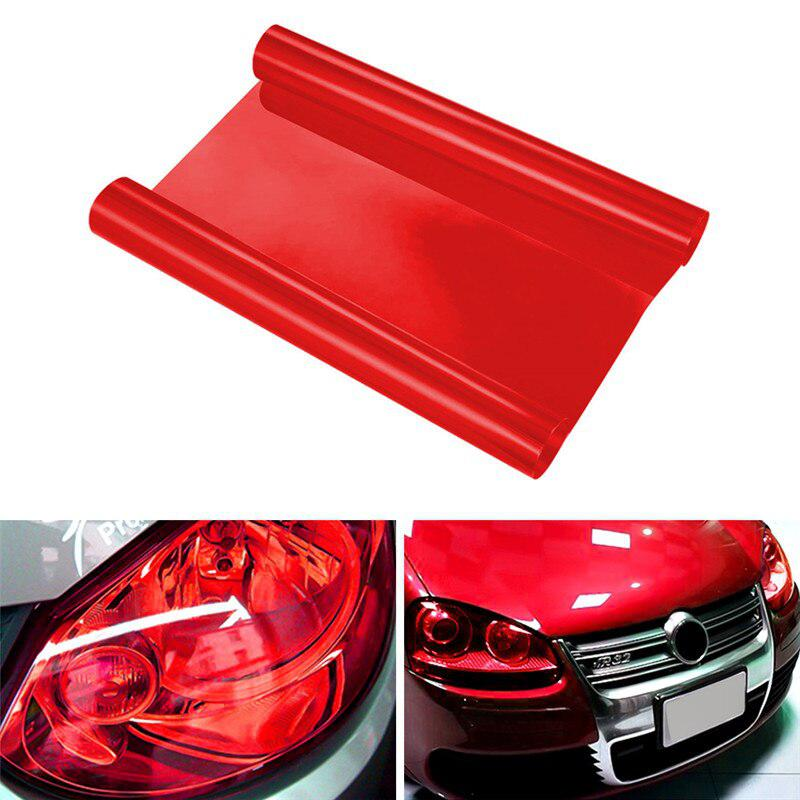 Red Car Headlight Stickers Auto Car Accessories Colorful Protector Sticker Vinyl Film Sheet Sticker Fog Light Sticker 30x60cm image