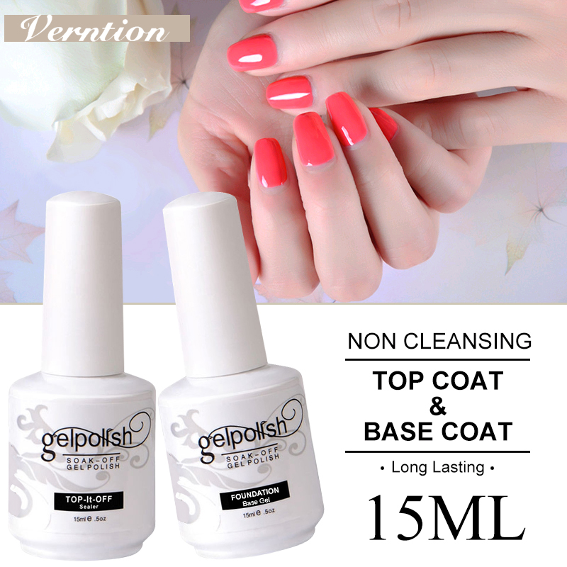 Verntion Base And Top Coat Nail Gel 15ml Varnishes Gel Nail Polish Primer Long Lasting Soak Off UV Gel Nail Art Bottom Gel Nails