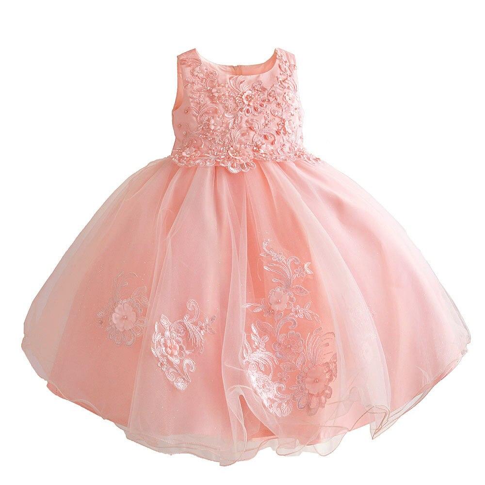 Zoeflower New Style Embroidery Lace Children Wedding Dress Princess Dress Catwalks Performance Formal Dress Powder