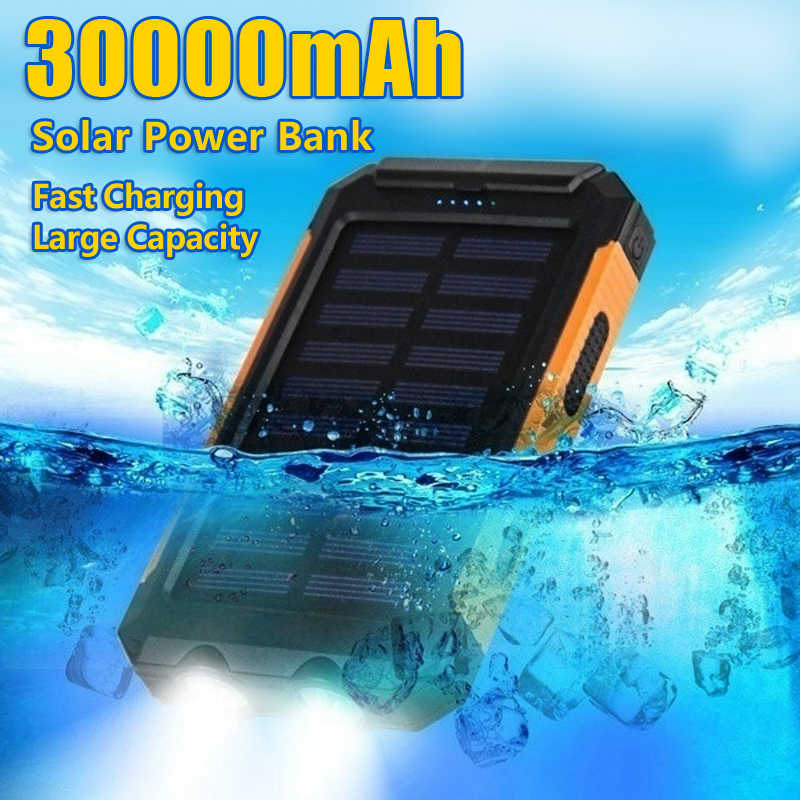Tragbare 30000mAh Solar Power Lade LED Licht Power Bank 2 USB Batterie Externe Außen Licht Power Wasserdicht