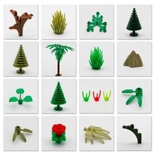 цены Friends City Tree Plant Accessories Parts Building Blocks Brick Grass Bush Leaf Jungle Military MOC Toys Compatible LegoINGlys