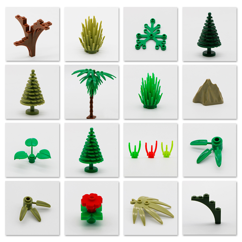 LegoINGlys Tree Plant Accessories Parts Building Blocks Compatible Grass Bush Leaf Jungle Military City Friends MOC Bricks Toys