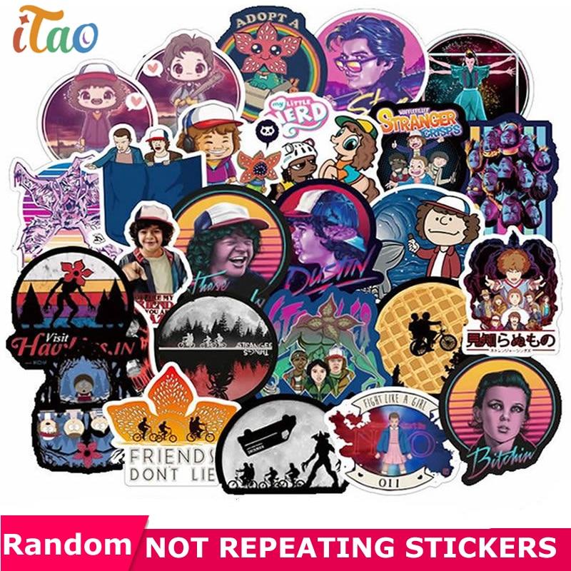 10/20/30/40/50pcs Pack Anime Stranger Things Sticker Waterproof PVC Guitar Skateboard Snowboard Luggage Laptop Kids Toy Stickers