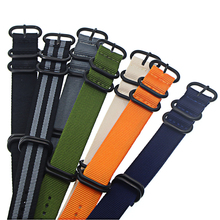 Nylon Straps 18mm 20mm 22mm 24mm Nylon Watch Band NATO nylon canvas watch strap with five-ring black buckle steel thic