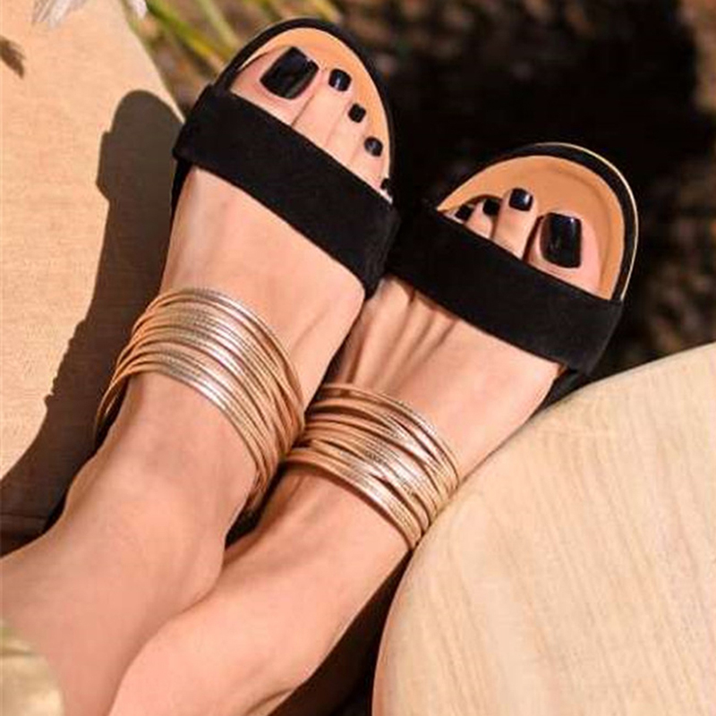 Funic Summer Womens Slippers Breathable Thick Bottom Retro Wedge Sandals Flats Roman Slippers