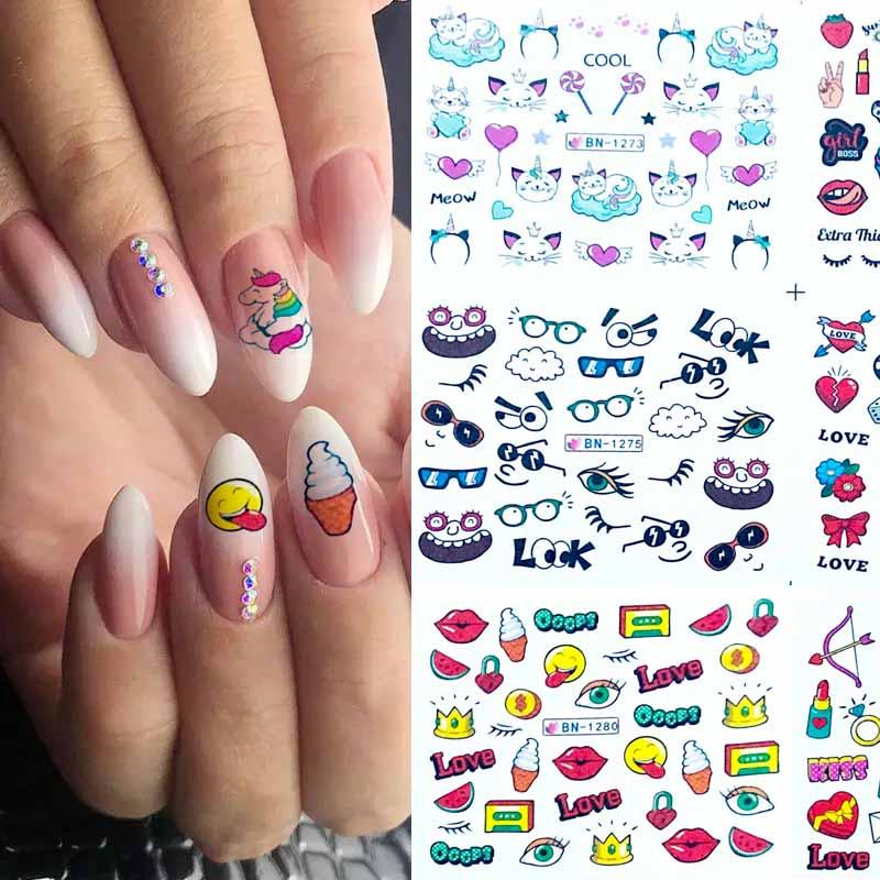 12 Designs Foil On Nails Water Stickers Lovely Cartoon Food Lip Cat Cute Partten Nail Wraps Slider Nail Art Tattoo Bn1273 1284 Stickers Decals Aliexpress