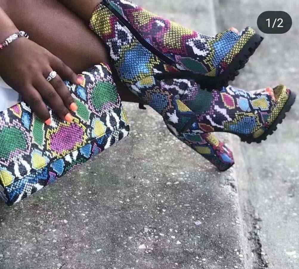 เสือดาวพิมพ์งูผู้หญิงรองเท้าซิปเปิดฤดูใบไม้ร่วงฤดูหนาวรองเท้าส้นสูงข้อเท้ารองเท้า 9080-1
