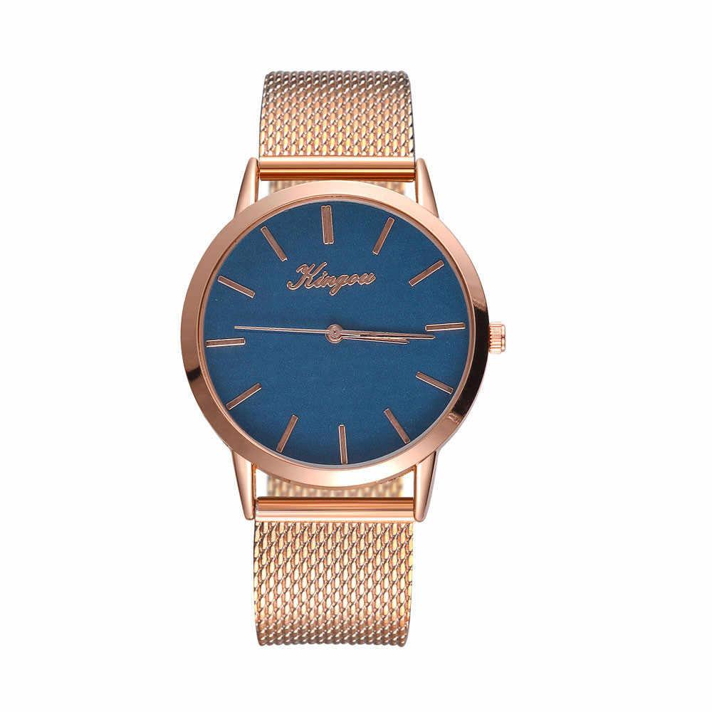 Zegarek damski KINGOU נשים מקרית קוורץ סיליקון רצועת להקת שעון אנלוגי שעון יד ביאן kol saati hodinky נשים reloj